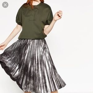 ZARA Metallic Silver Pleated Midi Skirt High Waist